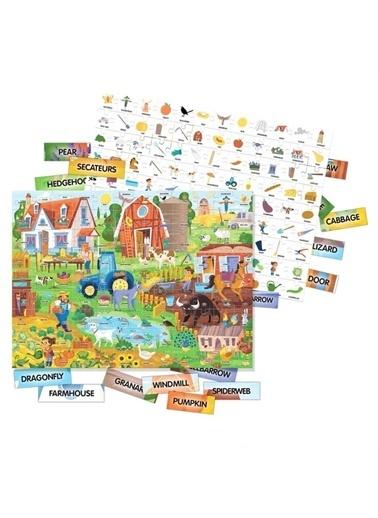 Headu Headu 100 Ingilizce Kelimeli Öğretici Çocuk Çiftlik Puzzle Renkli